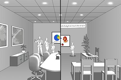 Salle3D: la salle de classe et la salle de réunion