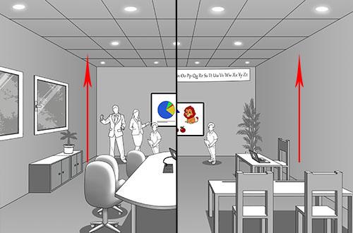 Salle 3D: la hauteur du plafond varie