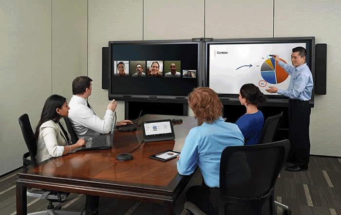 visioconference sur ecran interactif